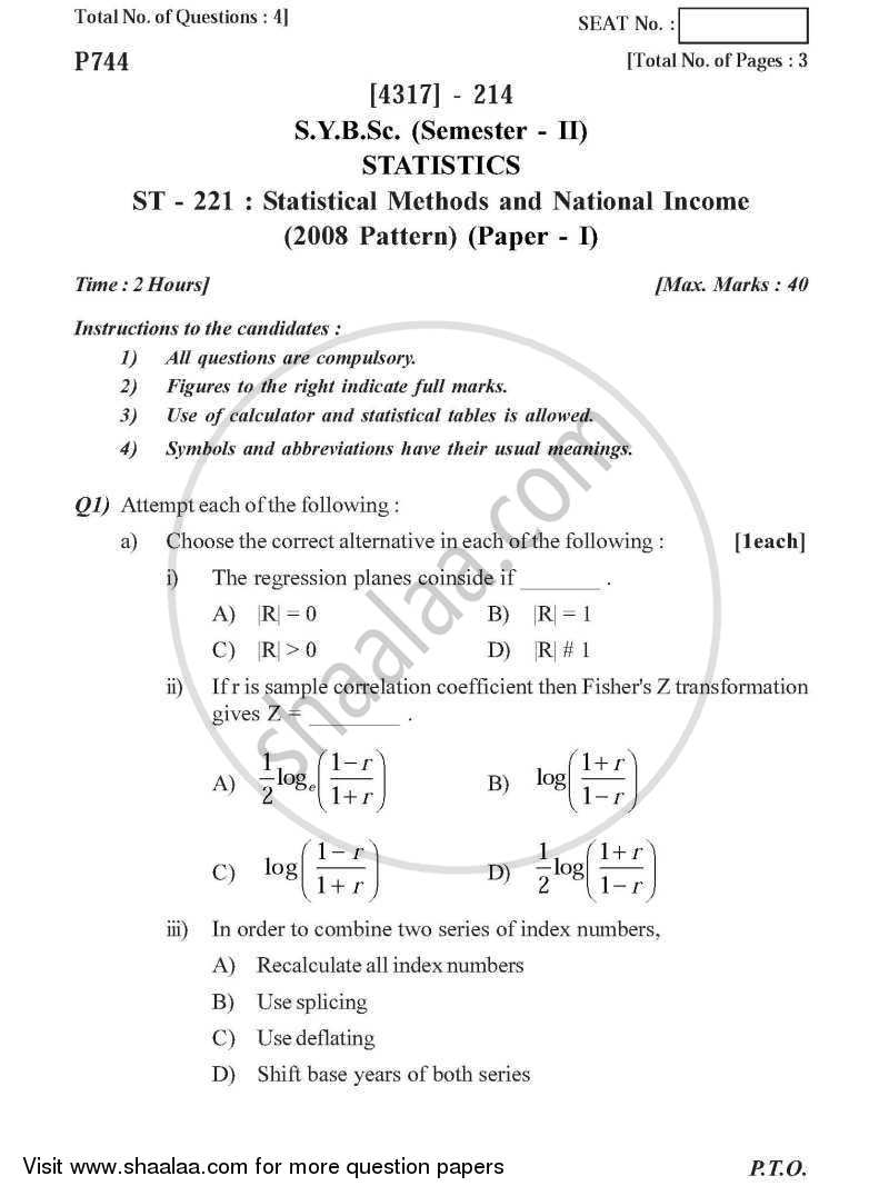 Question Paper - Statistical Methods and National Income 2013 - 2014 - B.Sc. - Semester 4 (SYBSc) - University of Pune