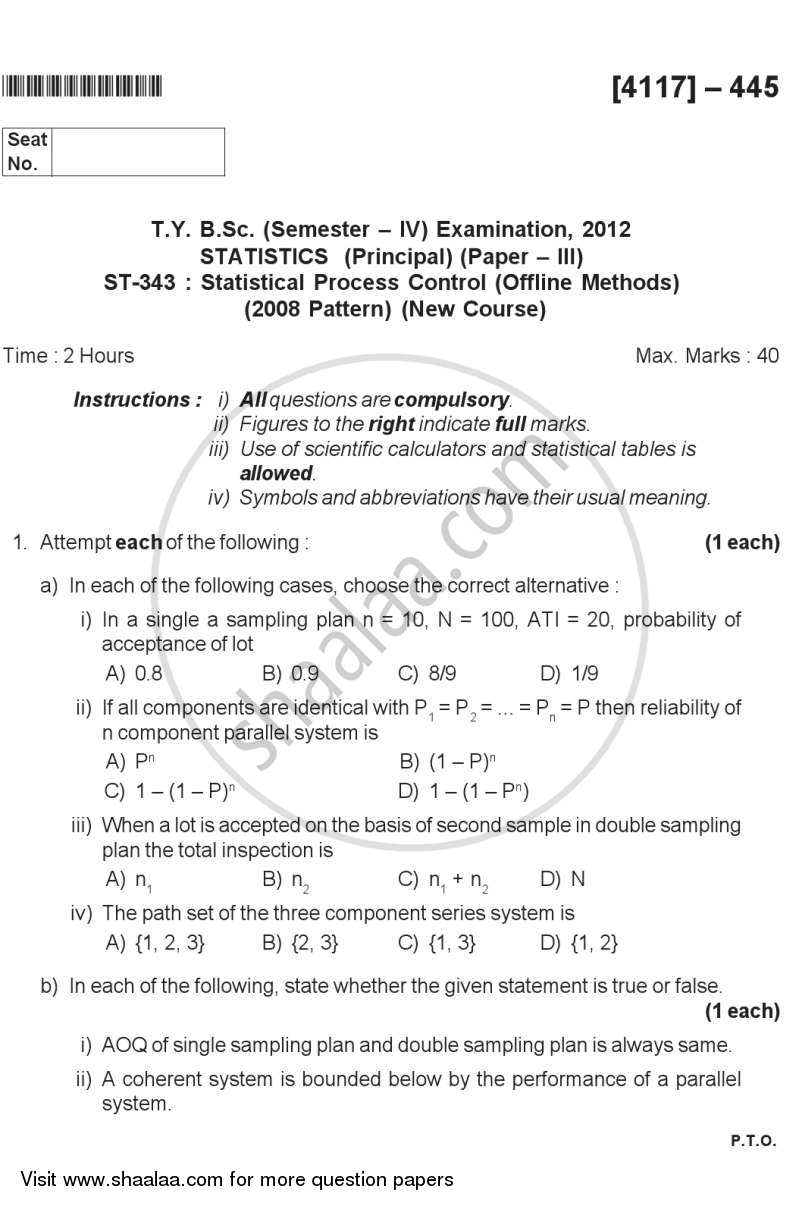 Question Paper - Statistical Process Control (Off Line Methods) 2012 - 2013 - B.Sc. - Semester 6 (TYBSc) - University of Pune