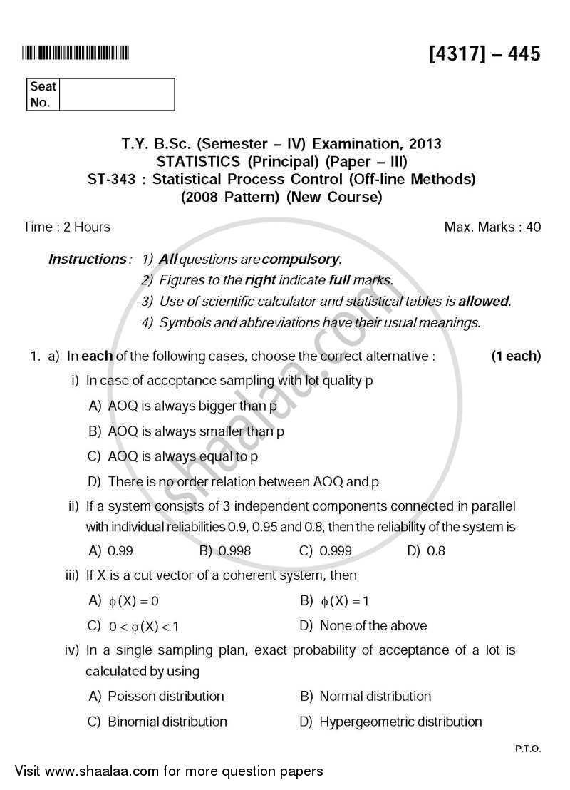 Question Paper - Statistical Process Control (Off Line Methods) 2013 - 2014 - B.Sc. - Semester 6 (TYBSc) - University of Pune
