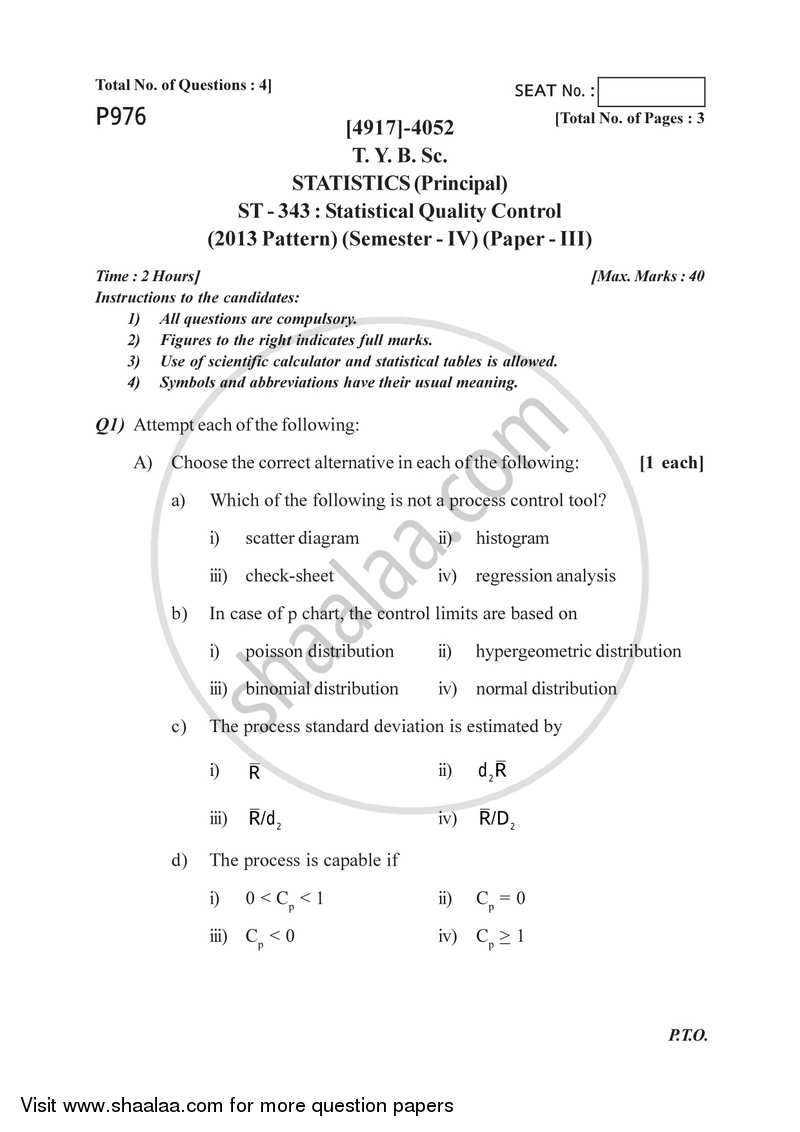 Statistical Process Control (Off Line Methods) 2015-2016 - B.Sc. - Semester 6 (TYBSc) - University of Pune question paper with PDF download