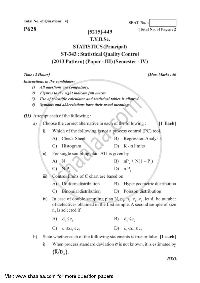 Statistical Quality Control 2017-2018 - B.Sc. - Semester 6 (TYBSc) - University of Pune question paper with PDF download