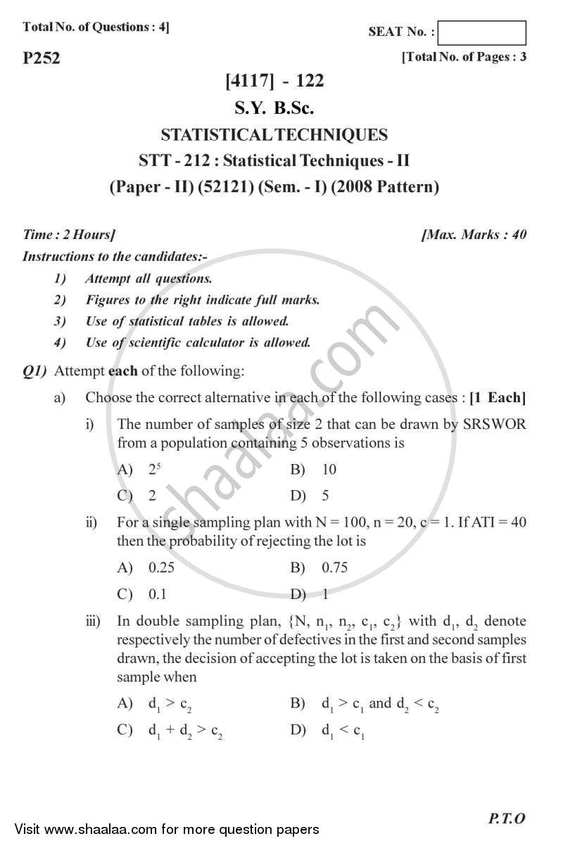Question Paper - Statistical Techniques 2 2012 - 2013 - B.Sc. - Semester 3 (SYBSc) - University of Pune