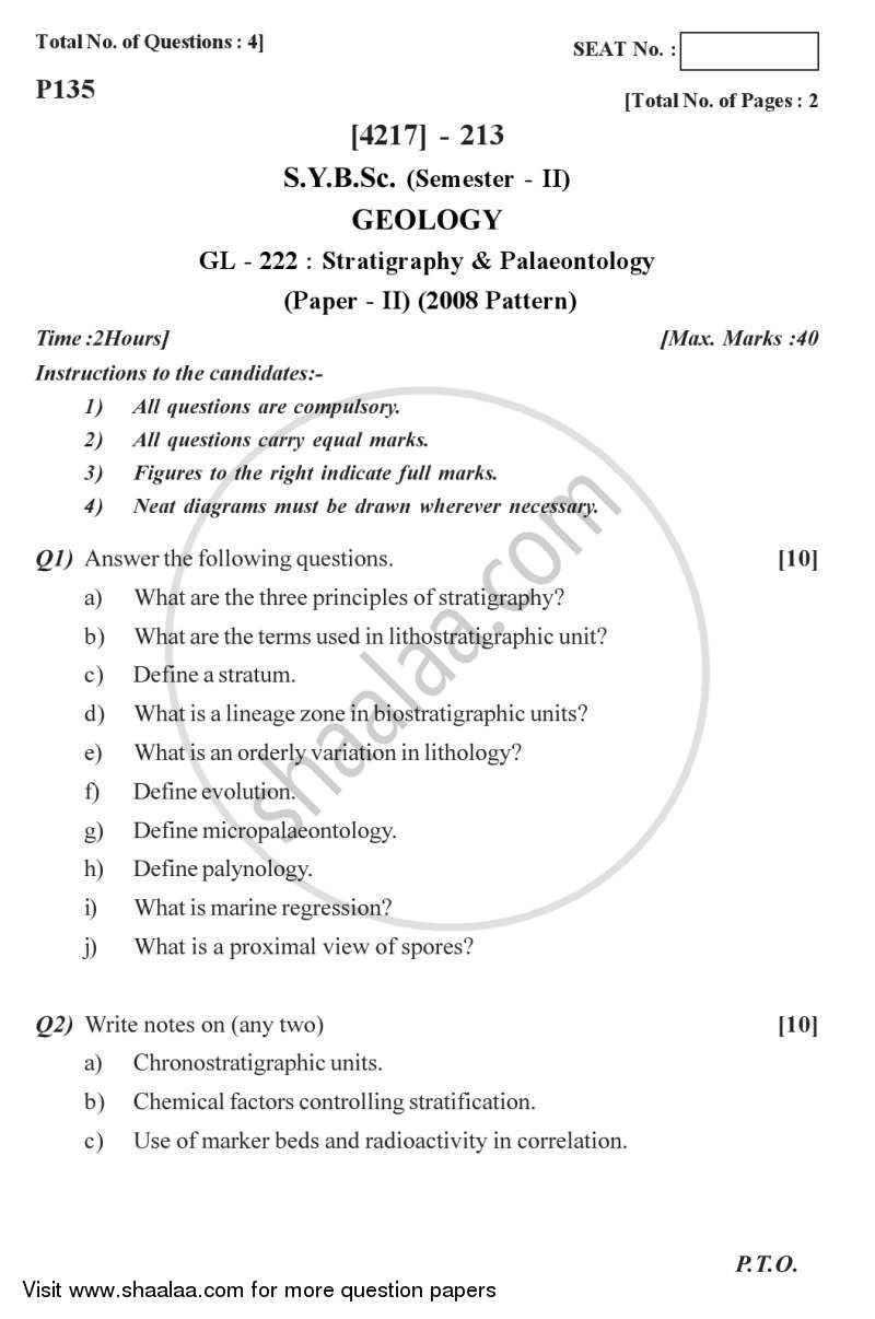 Question Paper - Stratigraphy and Palaeontology 2012 - 2013 - B.Sc. - Semester 4 (SYBSc) - University of Pune