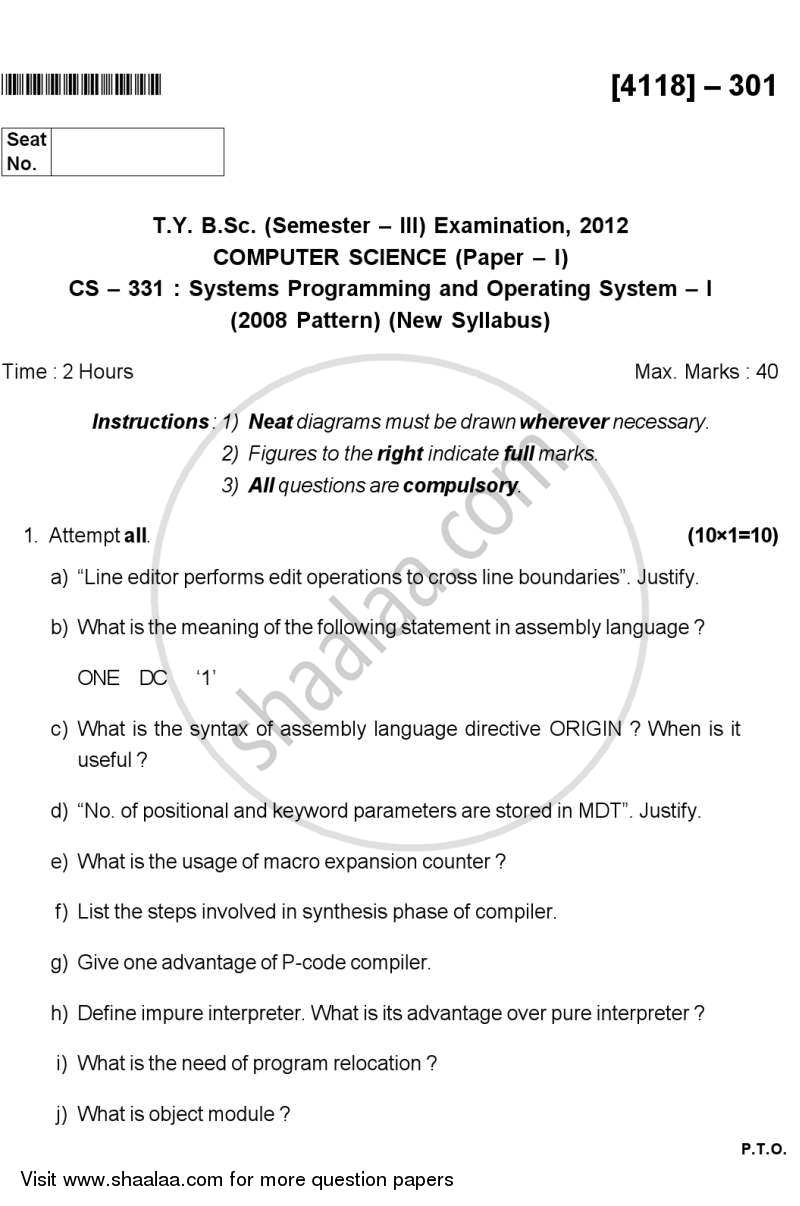 Systems Programming and Operating System 1 2012-2013 - B.Sc. - Semester 5 (TYBSc) - University of Pune question paper with PDF download