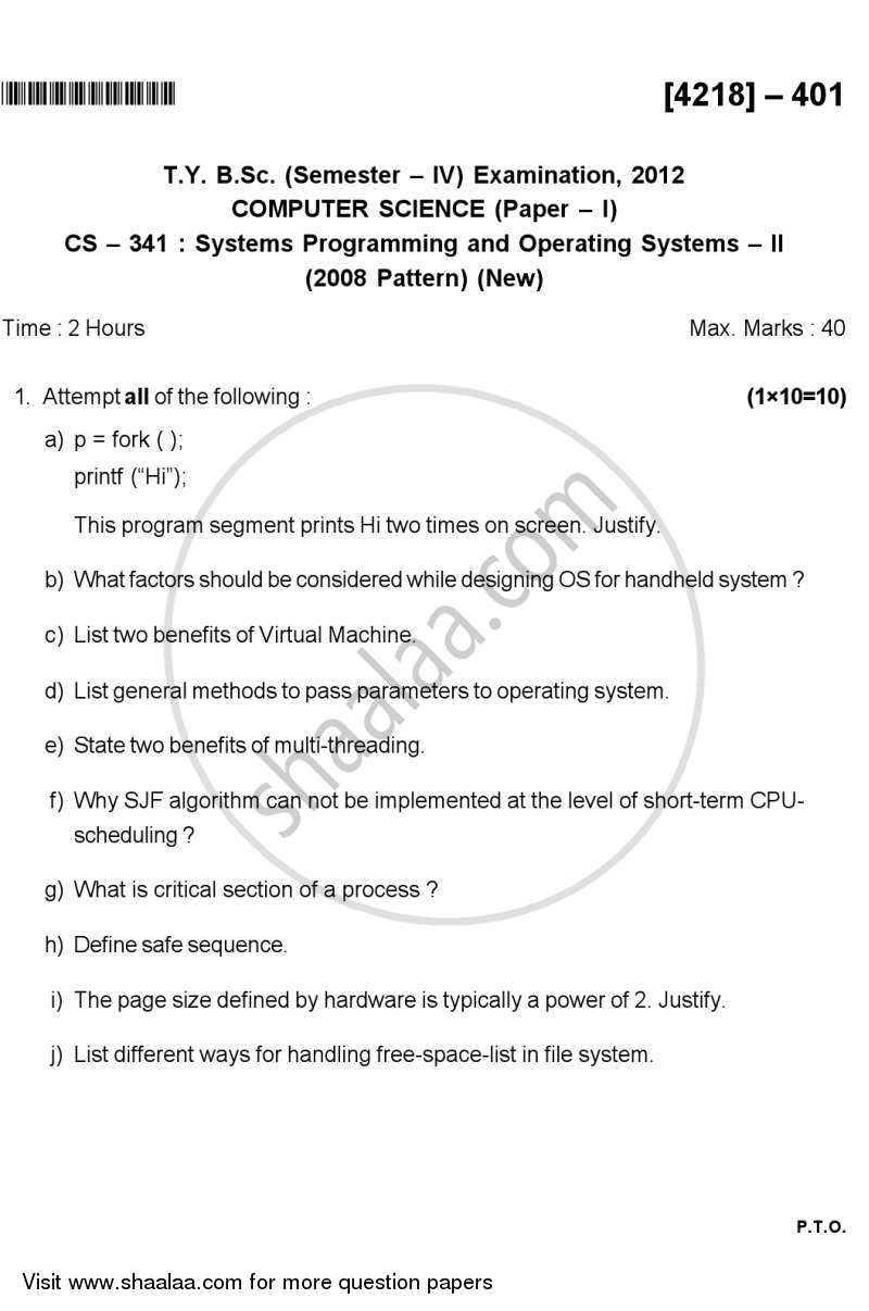 Systems Programming and Operating System 2 2012-2013 - B.Sc. - Semester 6 (TYBSc) - University of Pune question paper with PDF download