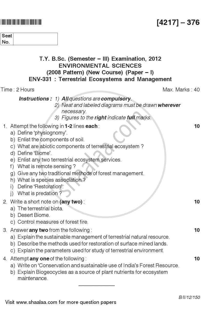 Question Paper - Terrestrial Ecosystems and Management 2012 - 2013 - B.Sc. - Semester 5 (TYBSc) - University of Pune