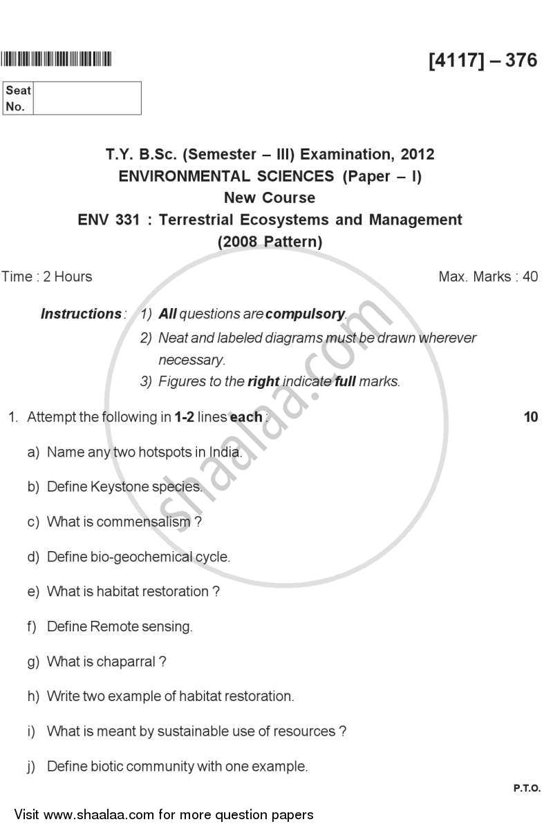 Question Paper - Terrestrial Ecosystems and Management 2012 - 2013-B.Sc.-Semester 5 (TYBSc) University of Pune