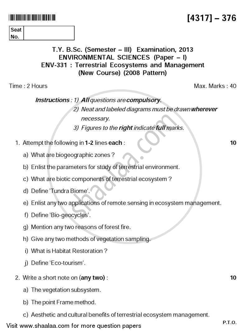 Question Paper - Terrestrial Ecosystems and Management 2013 - 2014 - B.Sc. - Semester 5 (TYBSc) - University of Pune