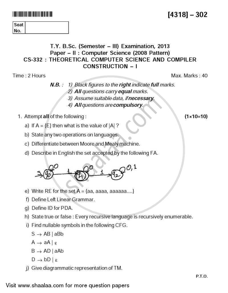 Question Paper - Theoretical Computer Science and Compiler Construction 1 2013 - 2014 - B.Sc. - Semester 5 (TYBSc) - University of Pune