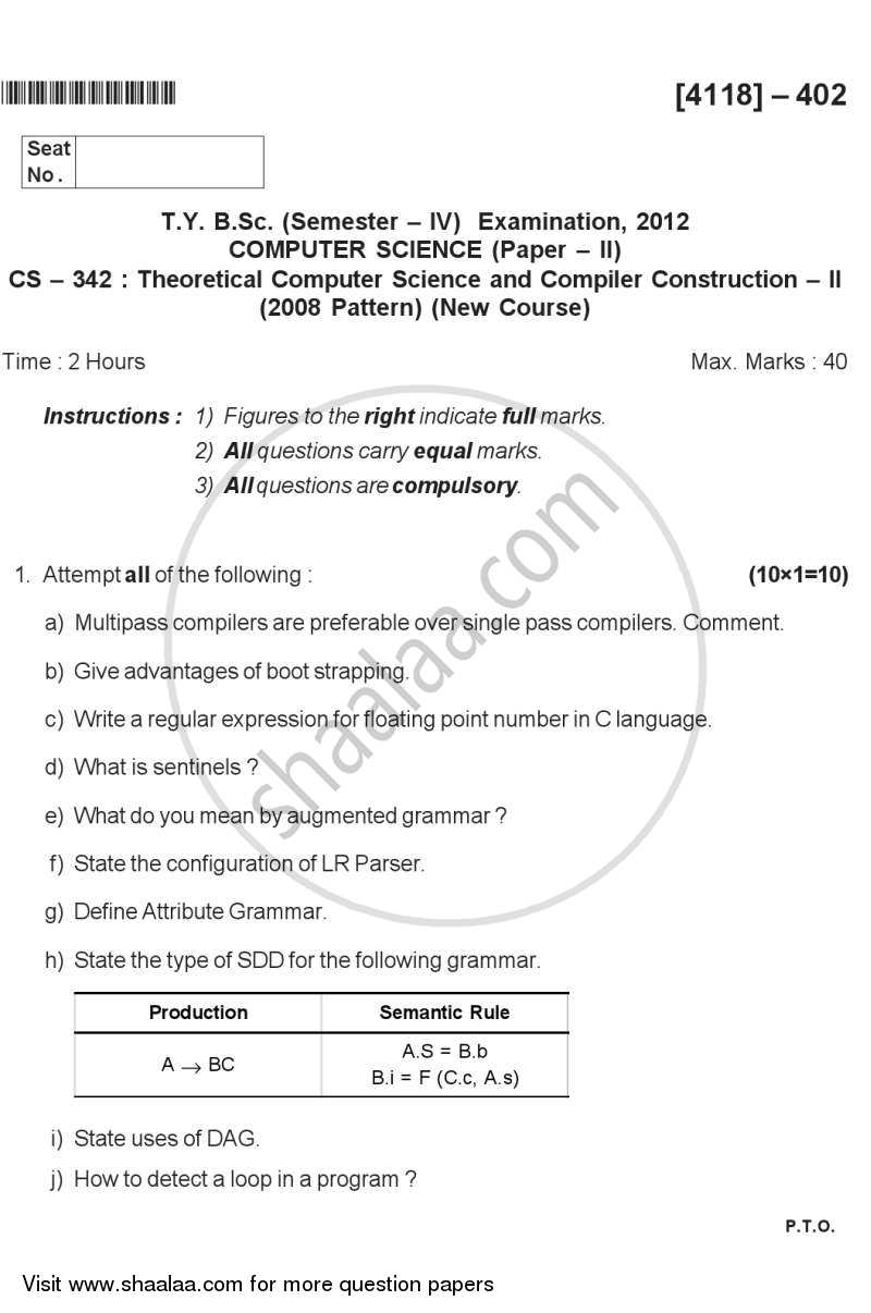 Question Paper - Theoretical Computer Science and Compiler Construction 2 2012 - 2013 - B.Sc. - Semester 6 (TYBSc) - University of Pune