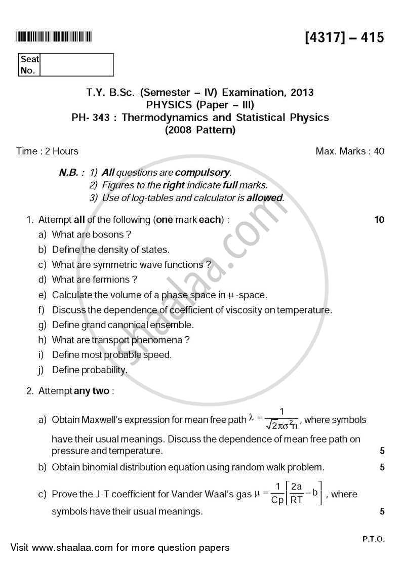 Question Paper - Thermodynamics and Statistical Physics 2011 - 2012 - B.Sc. - Semester 6 (TYBSc) - University of Pune