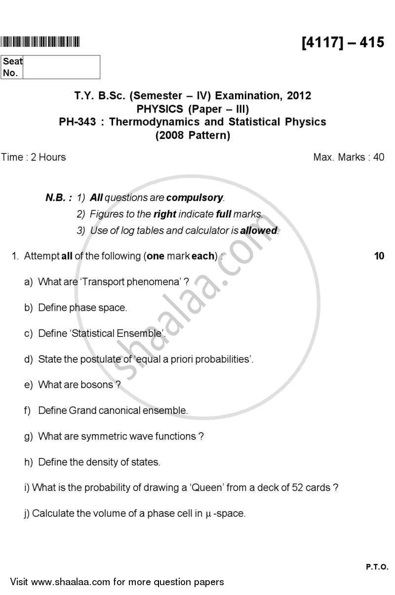 Question Paper - Thermodynamics and Statistical Physics 2012 - 2013 - B.Sc. - Semester 6 (TYBSc) - University of Pune