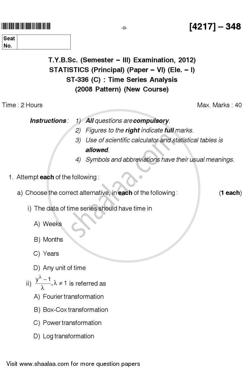 Question Paper - Time Series Analysis 2012 - 2013 - B.Sc. - Semester 5 (TYBSc) - University of Pune
