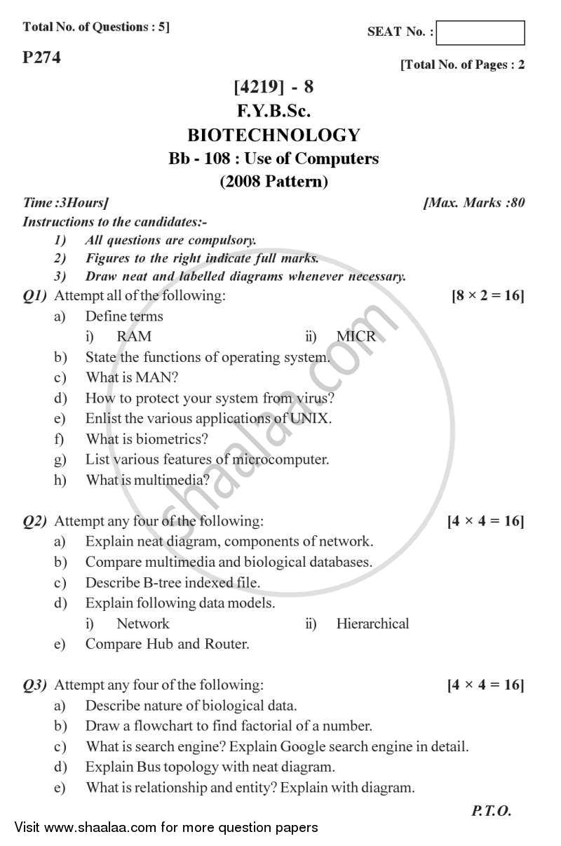 Question Paper - Use of Computers 2012 - 2013 - B.Sc. - Semester 2 (FYBSc) - University of Pune