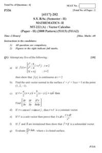Vector Calculus 2013-2014 B Sc Mathematics Semester 4 (SYBSc