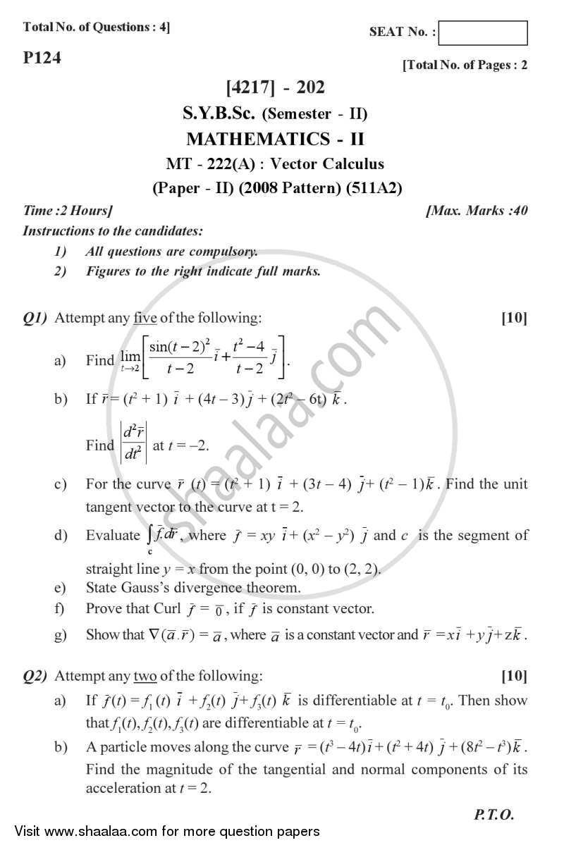 Question Paper - Vector Calculus 2012 - 2013 - B.Sc. - Semester 4 (SYBSc) - University of Pune