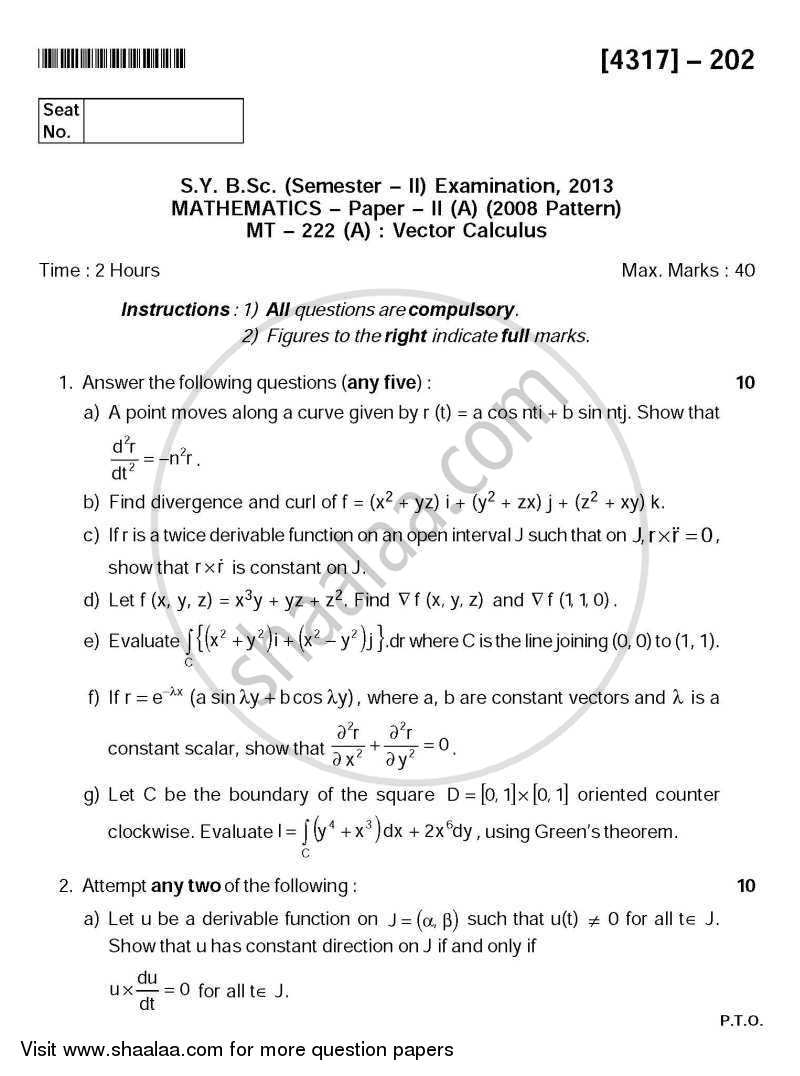 Vector Calculus 2013-2014 - B.Sc. - Semester 4 (SYBSc) - University of Pune question paper with PDF download
