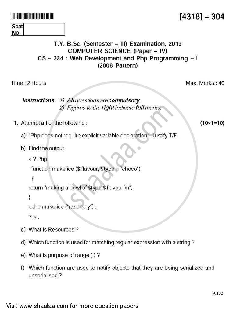 Web Development and Php Programming 1 2013-2014 - B.Sc. - Semester 5 (TYBSc) - University of Pune question paper with PDF download