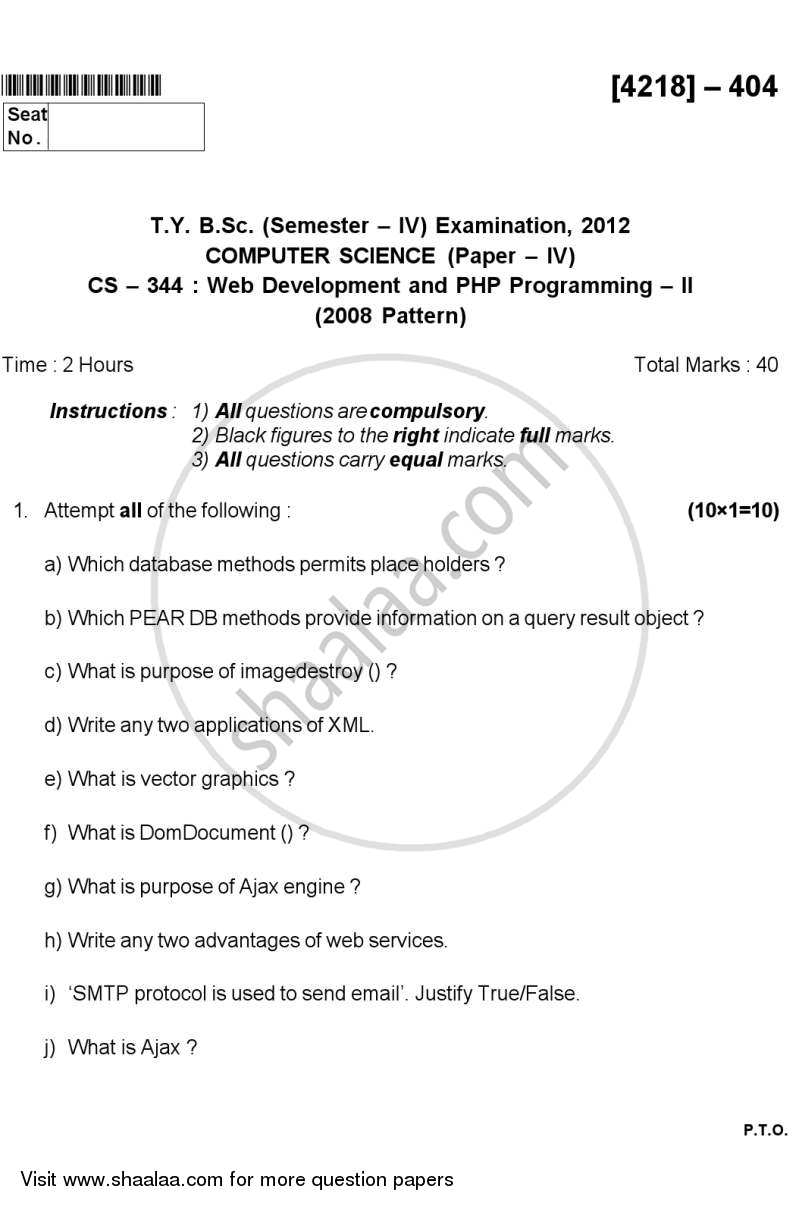 Web Development and Php Programming 2 2012-2013 - B.Sc. - Semester 6 (TYBSc) - University of Pune question paper with PDF download