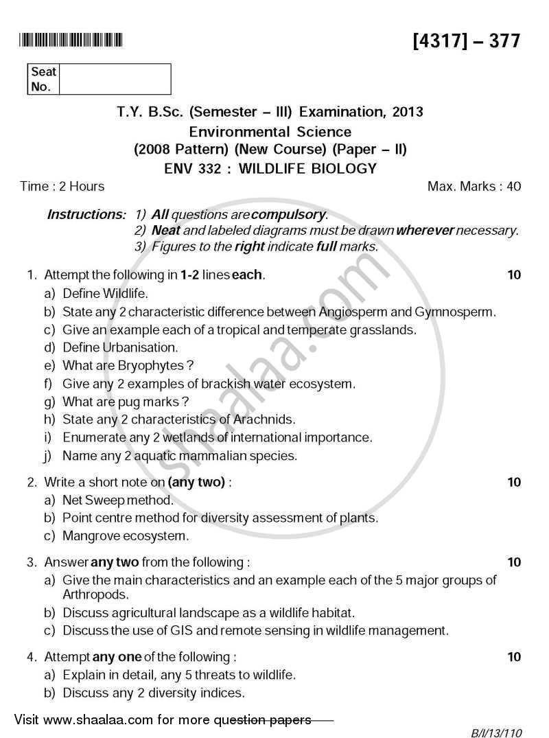 Question Paper - Wildlife Biology 2013 - 2014 - B.Sc. - Semester 5 (TYBSc) - University of Pune