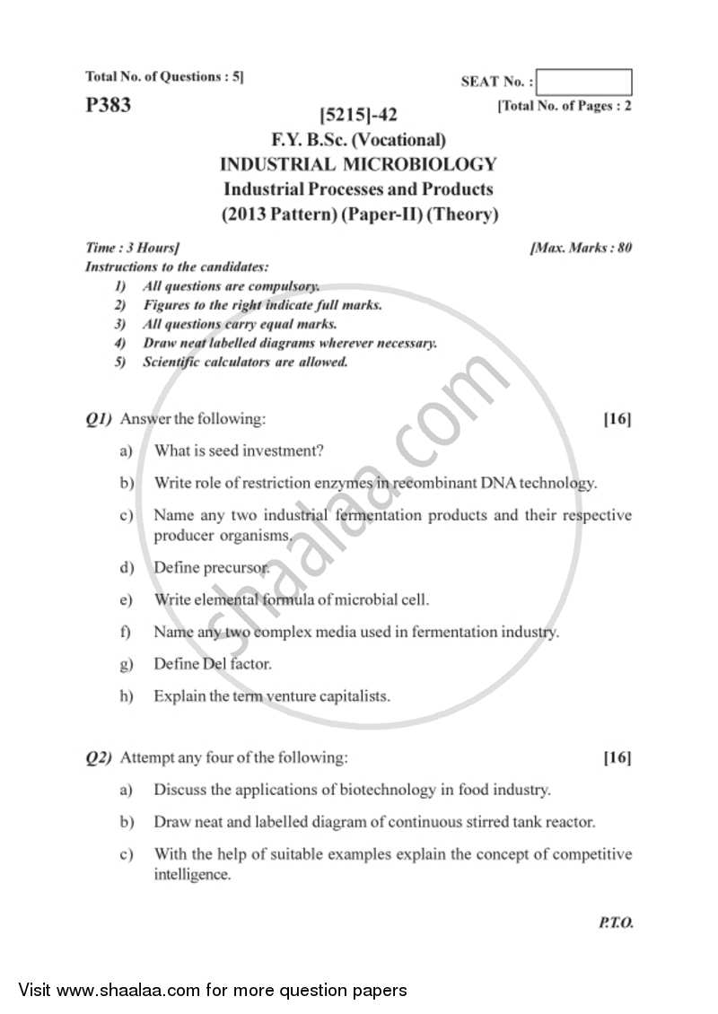 Question Paper - Industrial Processes and Products 2017-2018 Semester 2 (FYBSc) - University of Pune with PDF download