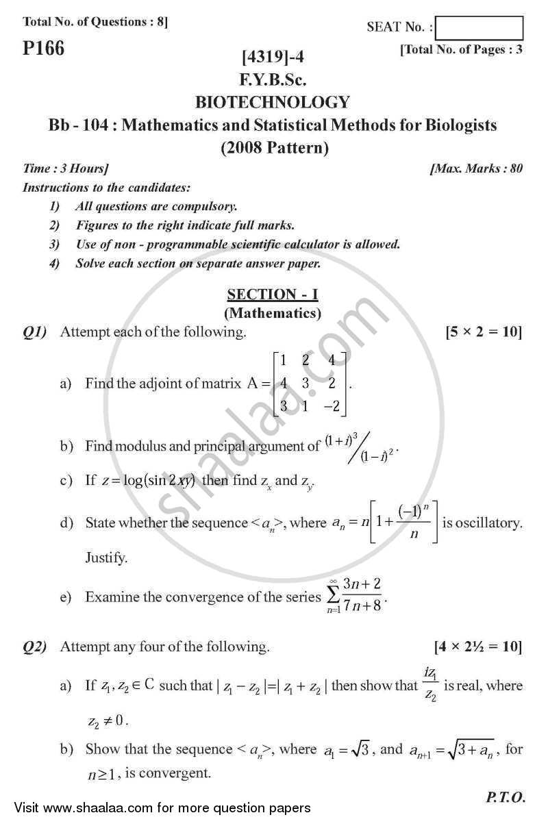 Question Paper Mathematics And Statistical Methods For