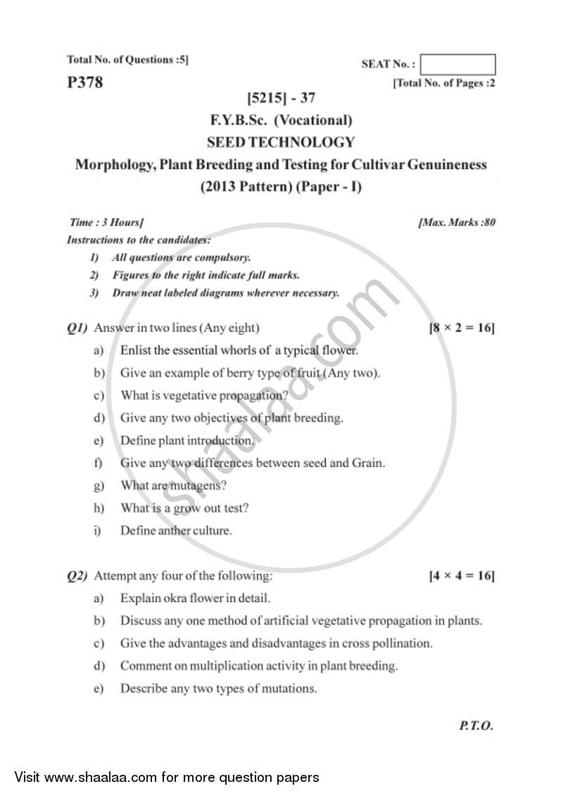 Question Paper - Morphology, Plant Breeding and Testing for Cultivar Genuineness 2017 - 2018 Semester 2 (FYBSc) - University of Pune