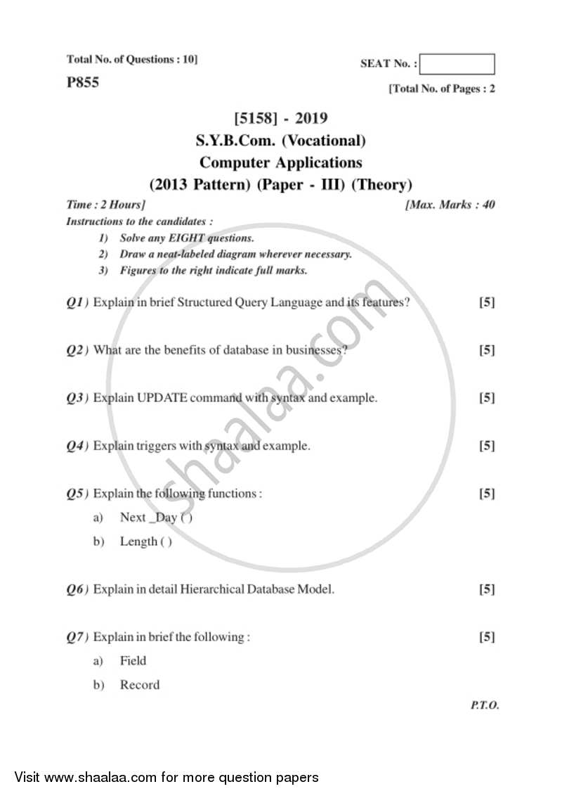 Question paper relational database management system 2016 2017 question paper relational database management system 2016 2017 syb vocational university of ccuart Images