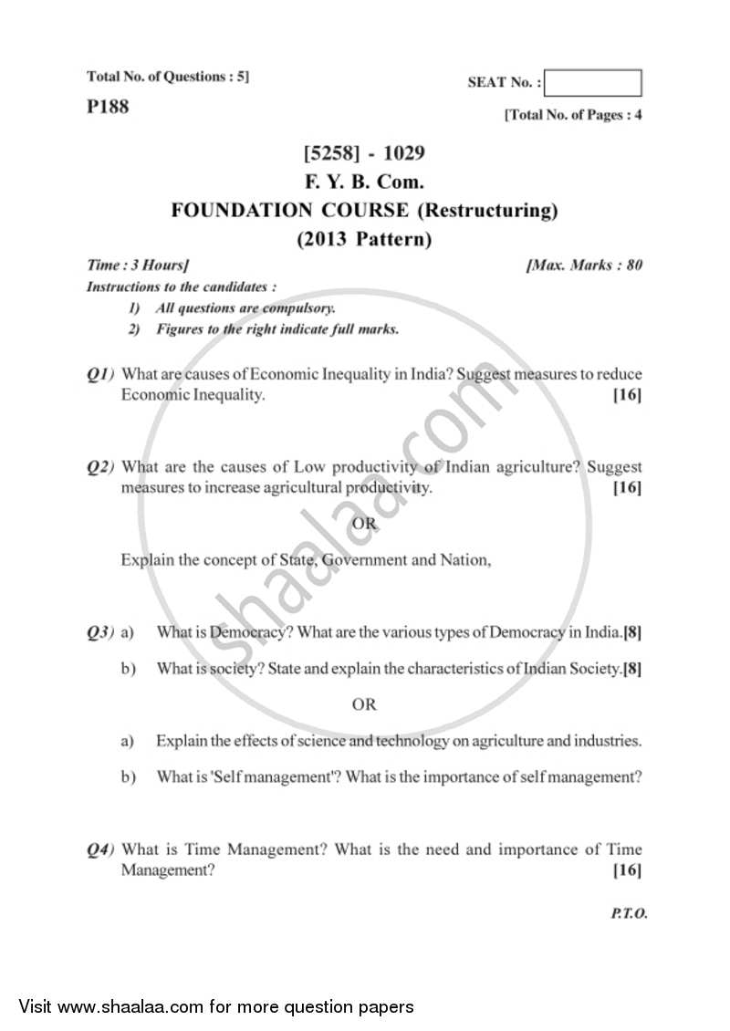 Restructuring 2017-2018 Semester 1 (FYBSc) - University of Pune question paper with PDF download