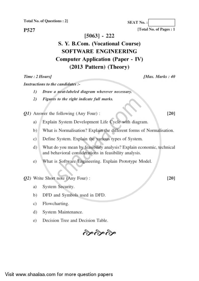 Software Engineering 2016-2017 Bachelor of Commerce