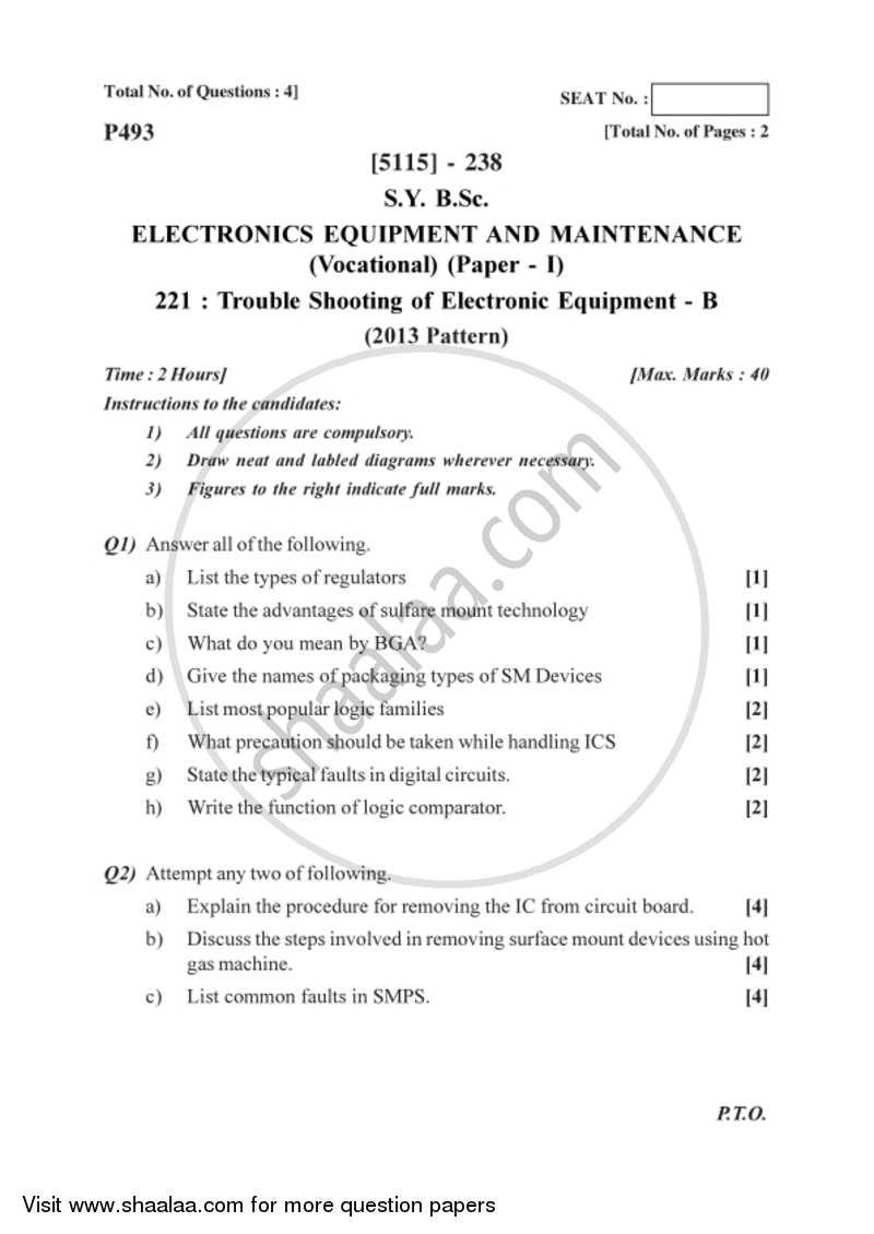 Troubleshooting Electronic Equipment - B 2016-2017 Bachelor