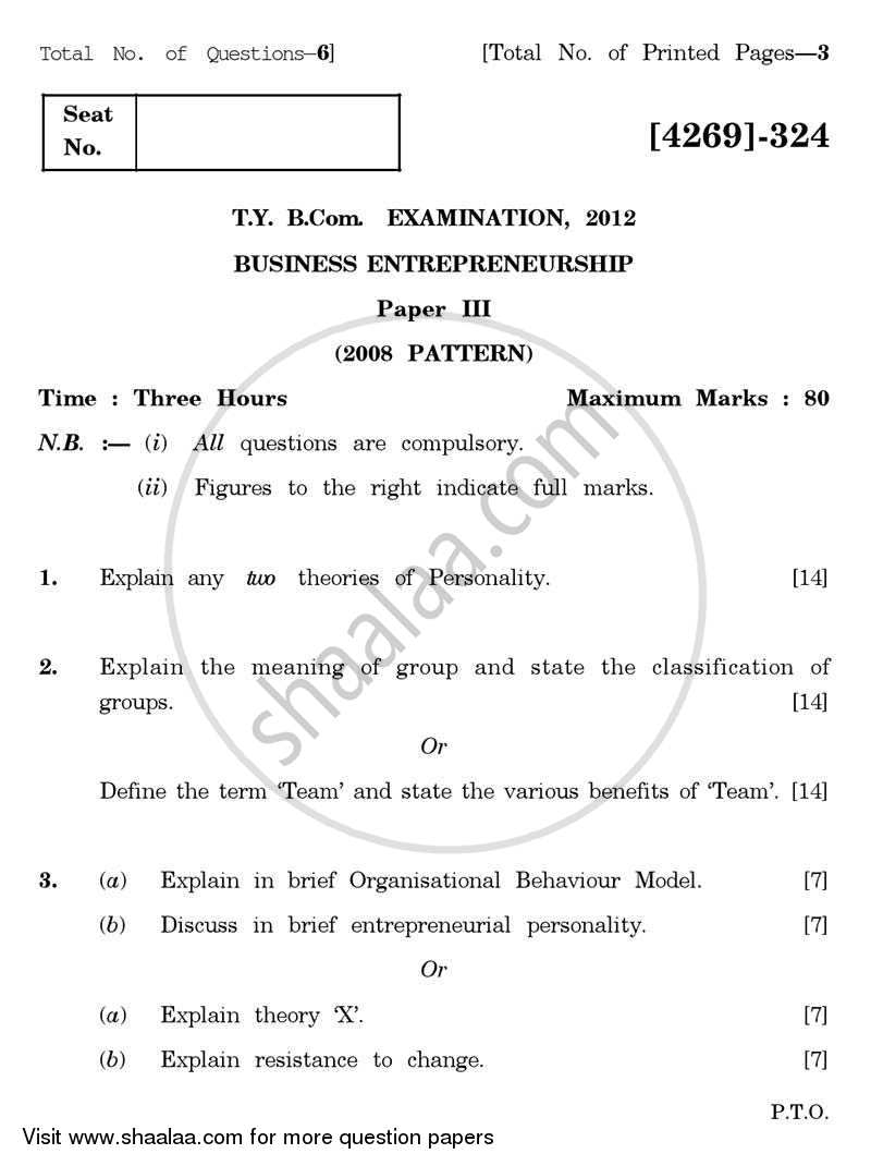 Business Entrepreneurship 3 2012-2013 - B.Com. - 3rd Year (TYBcom) - University of Pune question paper with PDF download