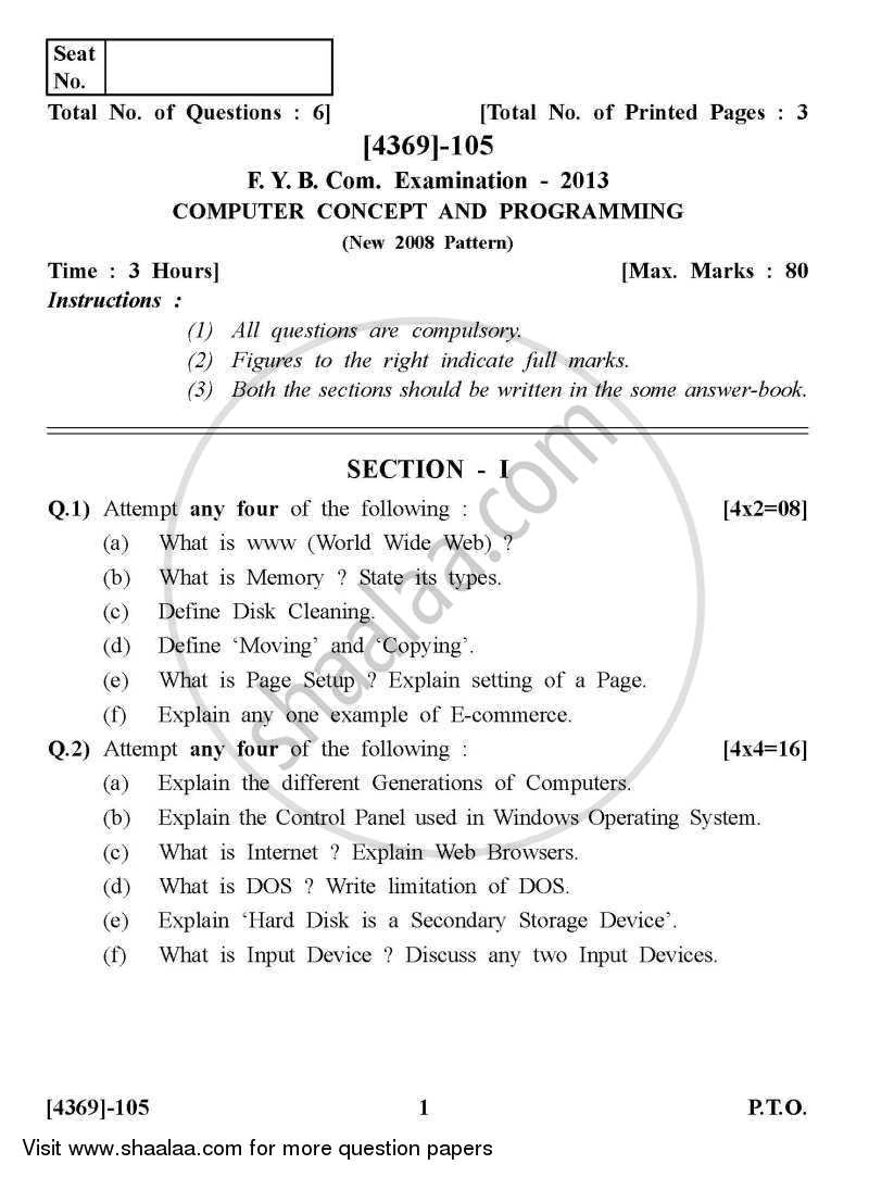 Computer Concepts and Programming 2012-2013 - B.Com. - 1st Year (FYBcom) - University of Pune question paper with PDF download