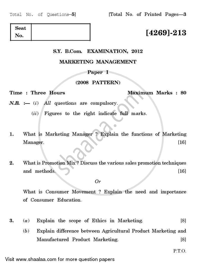Marketing Management 1 2012-2013 - B.Com. - 2nd Year (SYBcom) - University of Pune question paper with PDF download