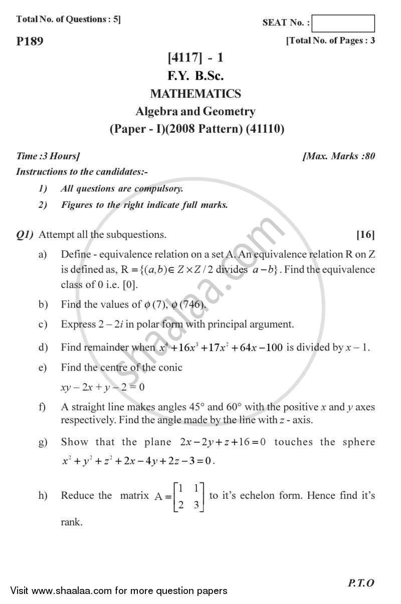 Algebra and Geometry 2012-2013 - B.Sc. - Semester 2 (FYBSc) - University of Pune question paper with PDF download