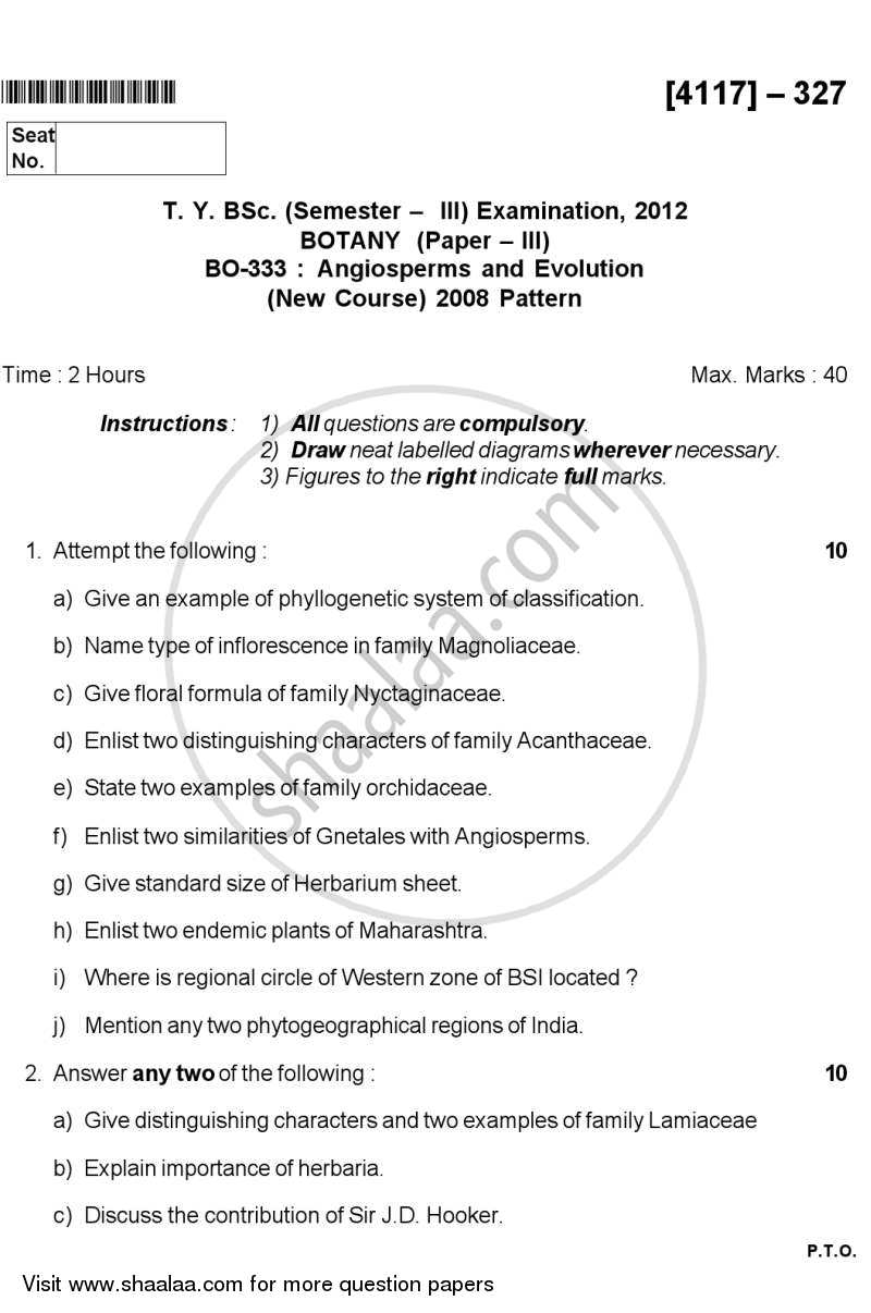 Angiosperms and Evolution 2012-2013 - B.Sc. - Semester 5 (TYBSc) - University of Pune question paper with PDF download
