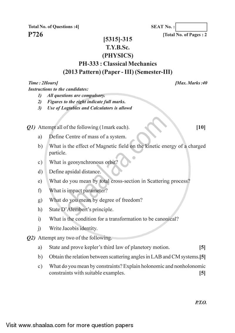 Classical Mechanics 2017-2018 - B.Sc. - Semester 5 (TYBSc) - University of Pune question paper with PDF download