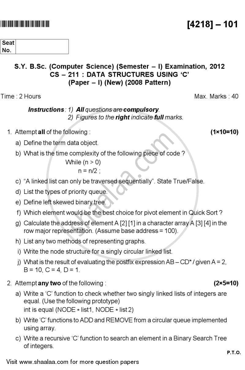 Data Structures Using C 2012-2013 - B.Sc. - Semester 3 (SYBSc) - University of Pune question paper with PDF download