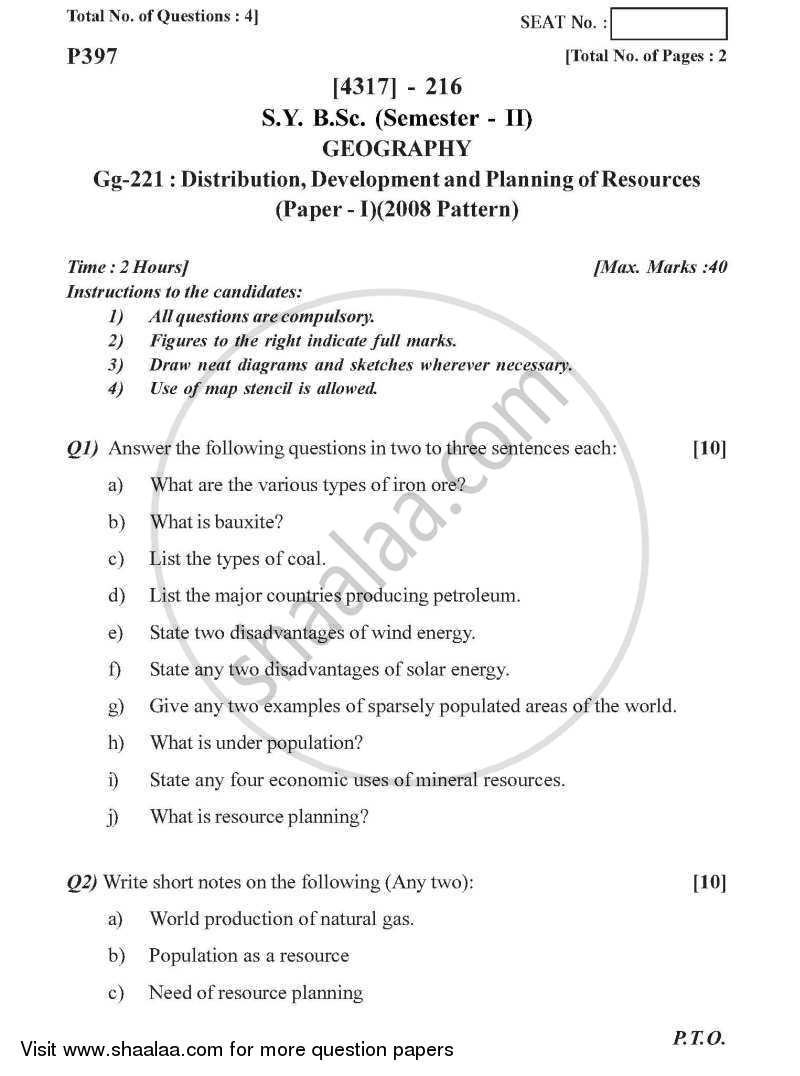 Distribution, Development and Planning of Resources 2013-2014 - B.Sc. - Semester 4 (SYBSc) - University of Pune question paper with PDF download