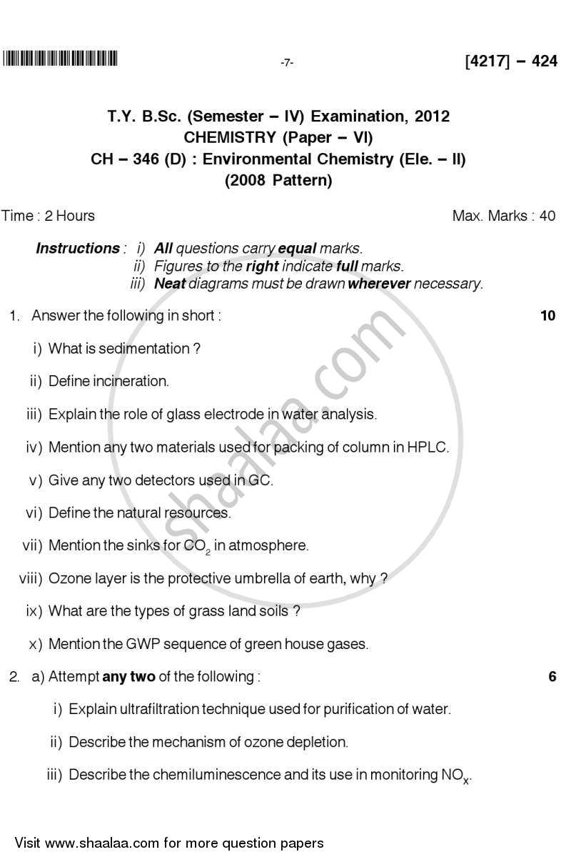 Environmental Chemistry 2012-2013 - B.Sc. - Semester 6 (TYBSc) - University of Pune question paper with PDF download