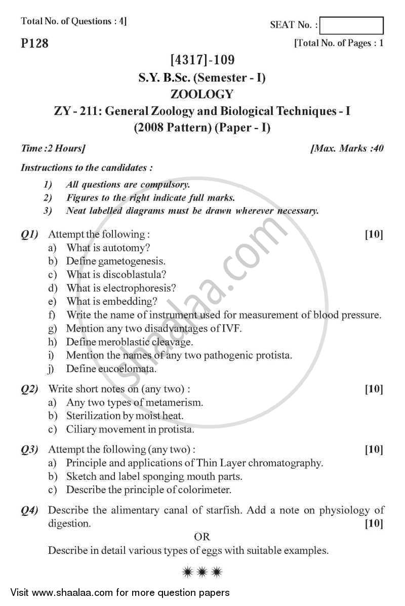 General Zoology and Biological Techniques 1 2013-2014 - B.Sc. - Semester 3 (SYBSc) - University of Pune question paper with PDF download