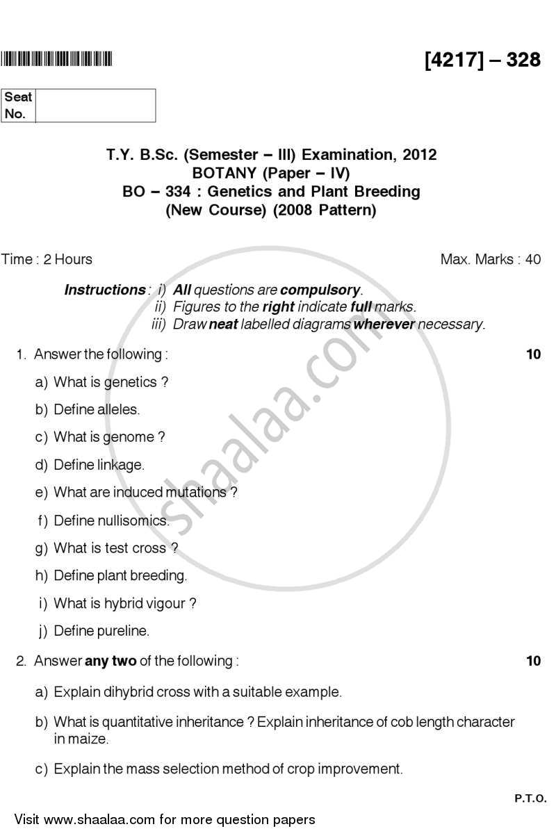 Genetics and Plant Breeding 2012-2013 - B.Sc. - Semester 5 (TYBSc) - University of Pune question paper with PDF download
