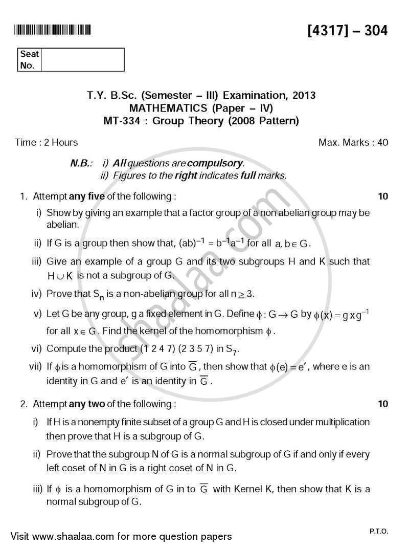 Group Theory 2013-2014 - B.Sc. - Semester 5 (TYBSc) - University of Pune question paper with PDF download