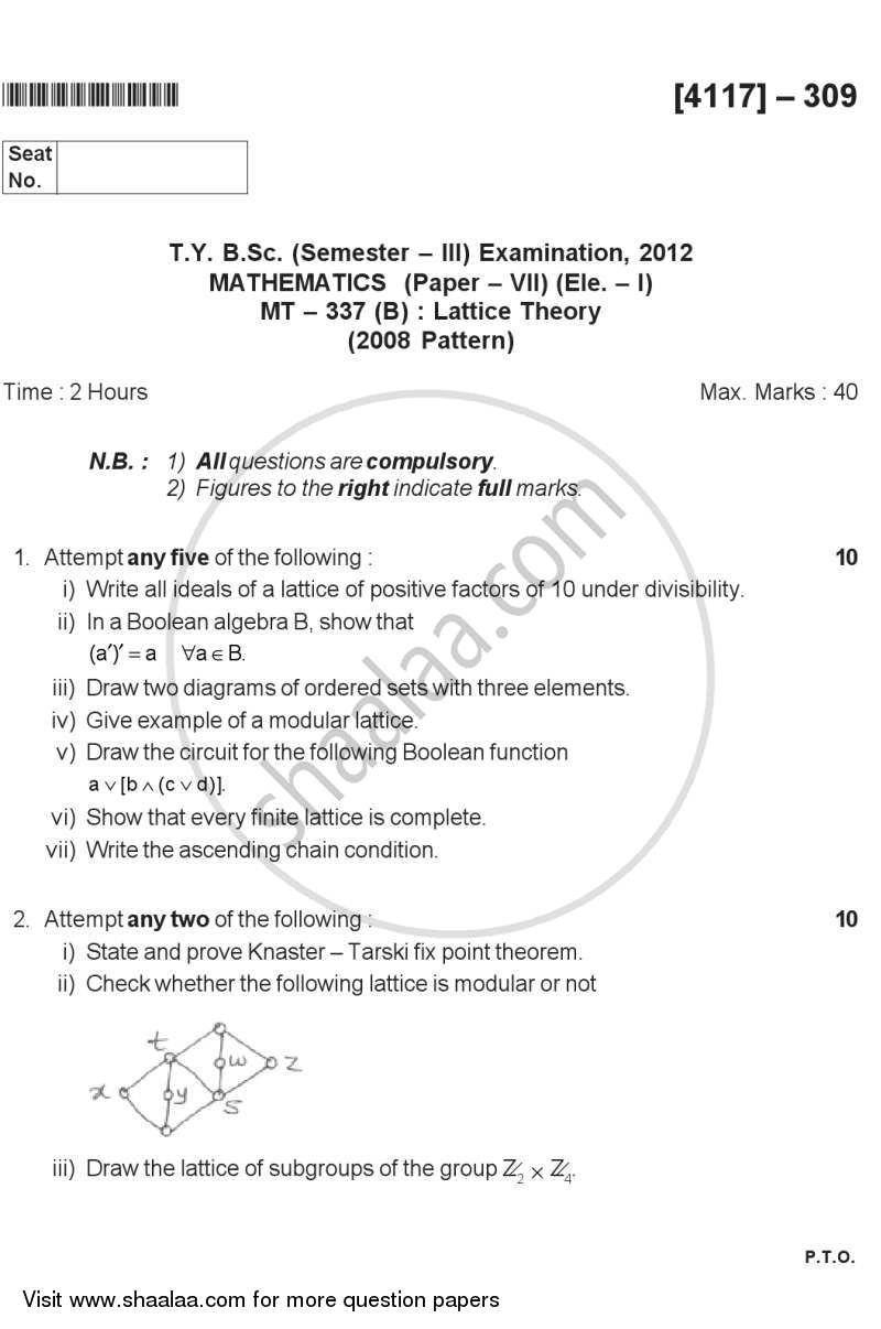 Lattice Theory 2012-2013 - B.Sc. - Semester 5 (TYBSc) - University of Pune question paper with PDF download