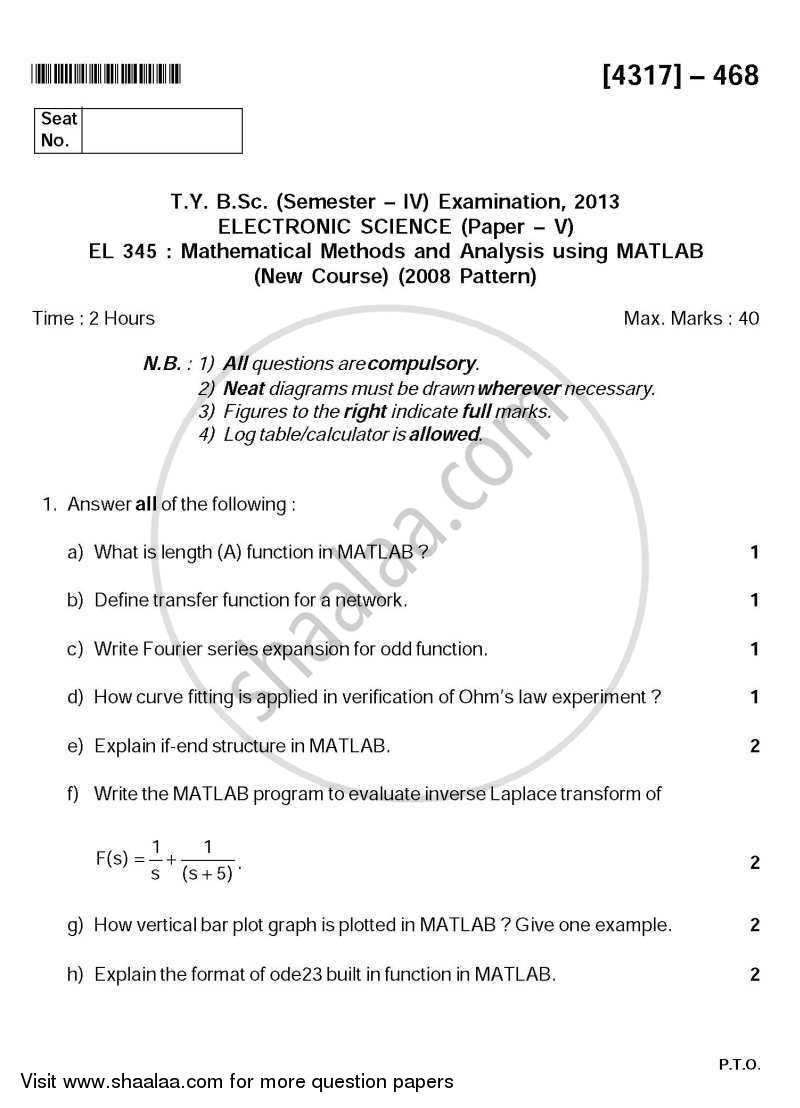 Mathematical Methods and Analysis using MATLAB 2013-2014 - B.Sc. - Semester 6 (TYBSc) - University of Pune question paper with PDF download