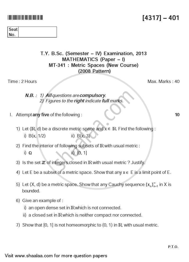 Metric Spaces 2013-2014 - B.Sc. - Semester 6 (TYBSc) - University of Pune question paper with PDF download