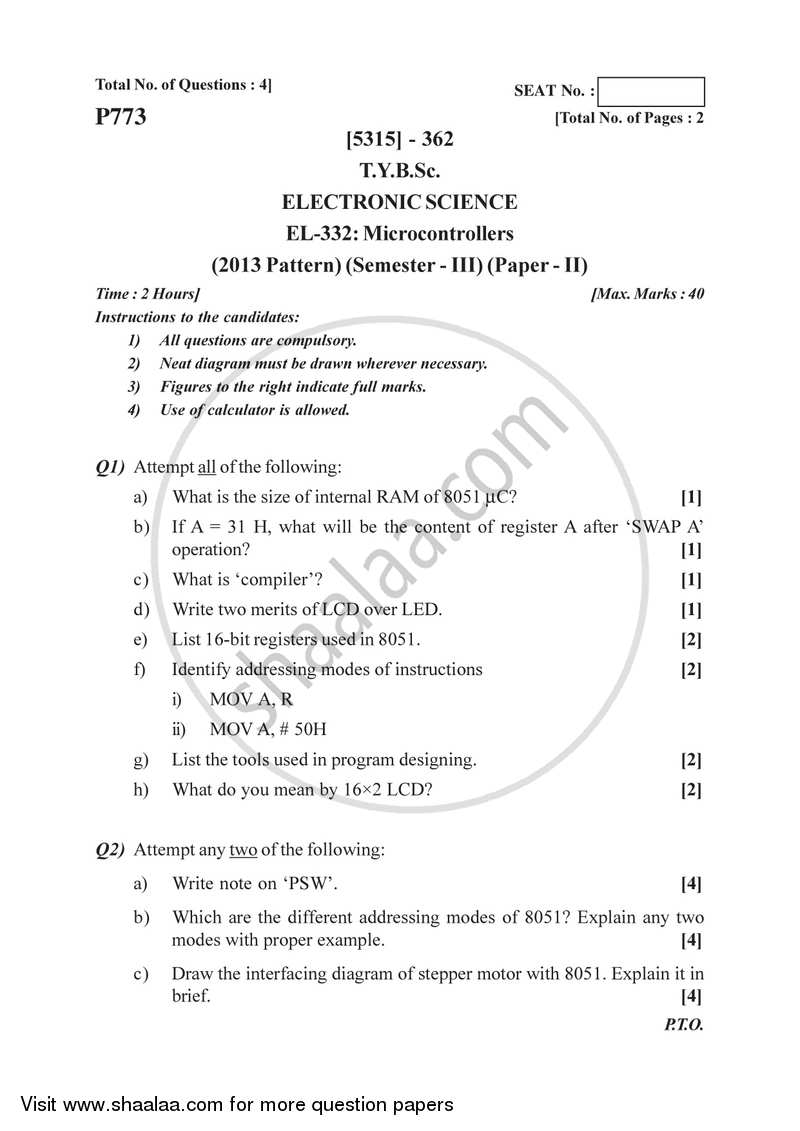 Microcontrollers 2017-2018 - B.Sc. - Semester 5 (TYBSc) - University of Pune question paper with PDF download
