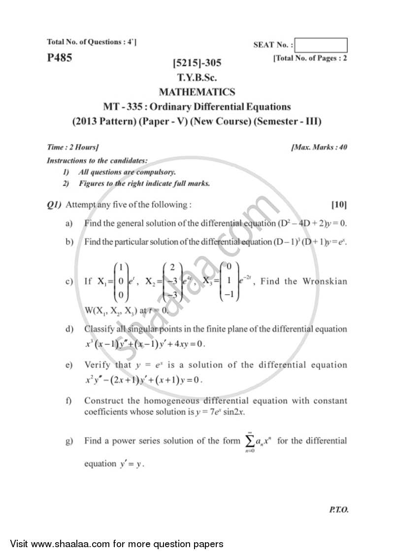 Ordinary Differential Equations 2017-2018 - B.Sc. - Semester 5 (TYBSc) - University of Pune question paper with PDF download