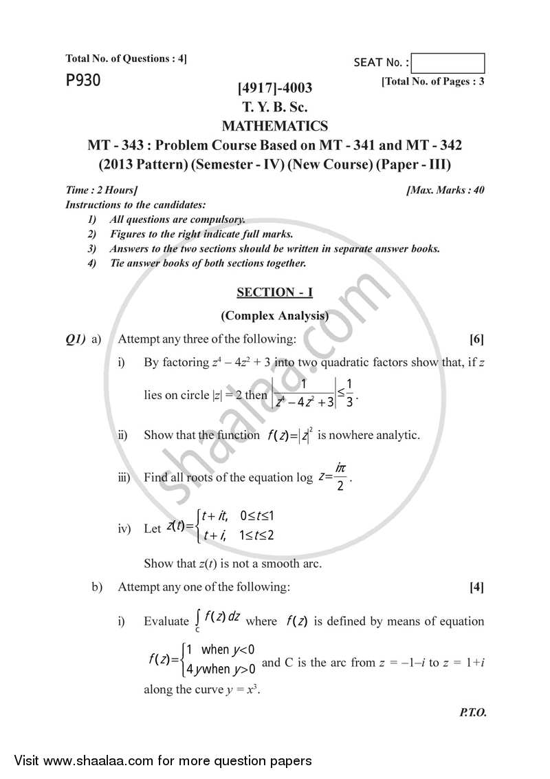 Problem Set 3 2015-2016 - B.Sc. - Semester 6 (TYBSc) - University of Pune question paper with PDF download