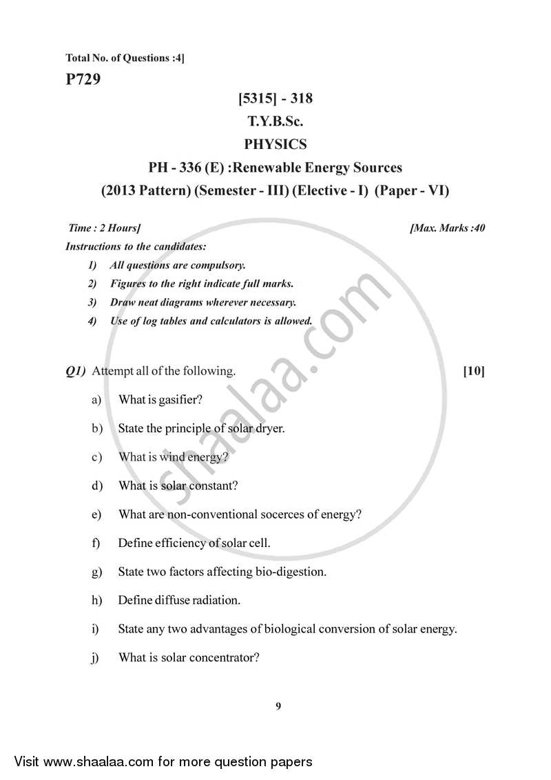 Renewable Energy Sources 2017-2018 - B.Sc. - Semester 5 (TYBSc) - University of Pune question paper with PDF download